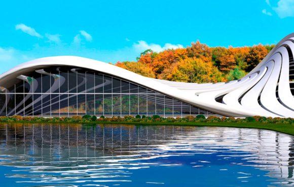 Крыша аквапарка как метафора воды